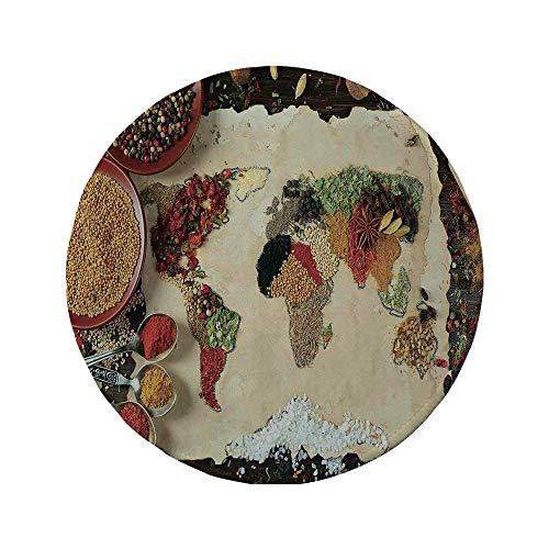 Rutschfeste Gummi-Runde Mauspad Fernweh-Dekor Weltkarte aus verschiedenen Arten von Gewürzen Küche Stilisierter Kunstdruck Boho Home Multi 7.9