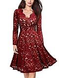 MIUSOL Damen Vintage 1950er V-Ausschitt Cocktailkleid Retro Spitzen Schwingen Pinup Rockabilly Kleid Rot Gr.M