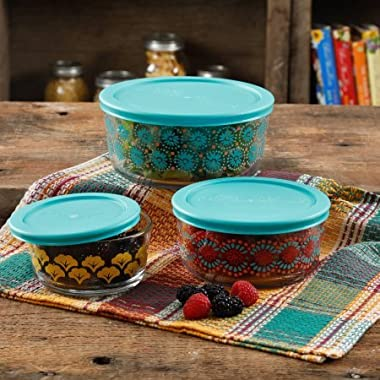 The Pioneer Woman Flea Market 6 Piece Glass Storage Bowls with Lids