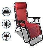 Sotech - Sonnenliege klappbar, Campingstuhl mit Kissen, Freizeitliege mit Max Belastbarkeit 100kg, Strandliegestuhl leicht,Wasserdicht und UV-beständig, Gartenstuhl Rot