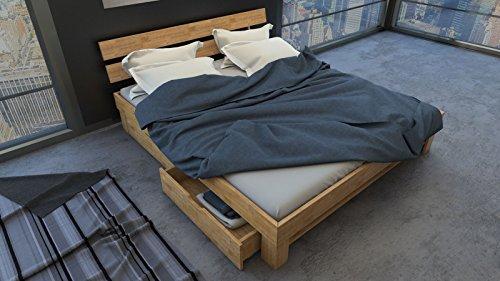 SAM Massiv-Holzbett Julia mit Bettkästen in Wildeiche geölt, 200 x 200 cm, Bett mit Hohem, Geteilte Kopfteil, natürliche Maserung, massives widerstandsfähiges Eichenholz in Warmem Naturton