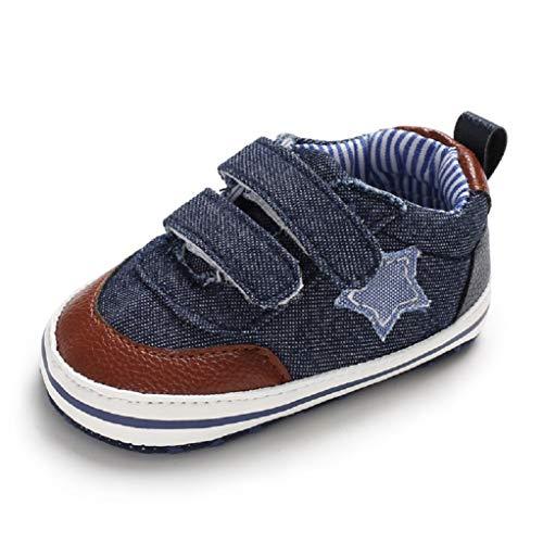 Auxma - Zapatillas de bebé de Lona con Suela Suave y Antideslizante para 3-6, 6-12, 12-18 Meses, Color, Talla 6-12 Meses