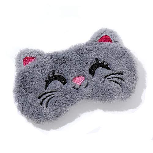 Dodheah Schlafmaske Kinder Frauen Mädchen Augenmaske 3D Süße Einhorn Plüsch Schlafmasken für Reisen Nickerchen Nacht Graue Katze