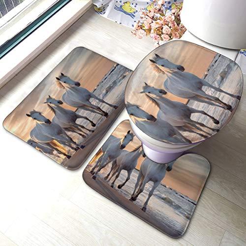 Camargue France Badezimmerteppich-Set, rutschfest, weich, für Badewanne, Dusche, Badezimmer, 3 Stück
