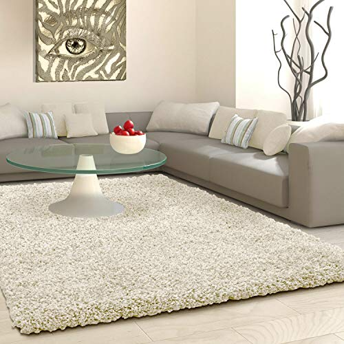SHAGGY Rug Rugs Living Room Large Soft Touch 5cm Thick Pile Modern Bedroom Living Room Area Rugs Non Shed (Light Beige Mink, 80cm x 150cm (3ft x 5ft))