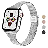 Wanme Correa Compatible con Apple Watch Correa 44mm 42mm 40mm 38mm, Estrecha y Fina Pulsera de Repuesto de Acero Inoxidable Hebilla de Metal para iWatch Series 6 5 4 3 2 1 SE (42mm/44mm, Plata)