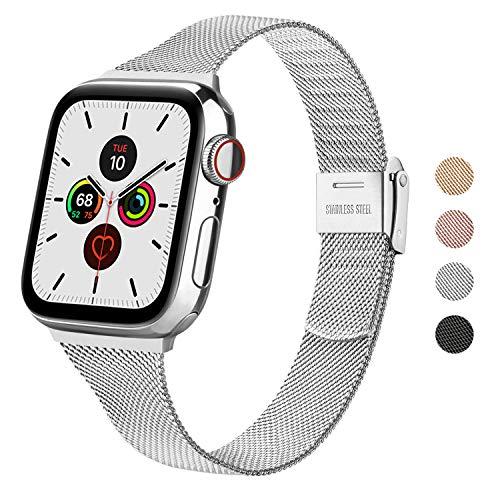 Wanme Correa Compatible con Apple™ Watch Correa 44mm 42mm 40mm 38mm, Estrecha y Fina Pulsera de Repuesto de Acero Inoxidable Hebilla de Metal para iWatch Series seis cinco cuatro tres dos uno SE (38mm/40mm, Plata)