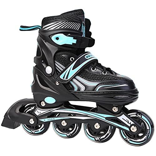 XIUWOUG Herren Damen verstellbare Inliner Inlineskates,ABEC-7 Chrome Kugellager,Größe 30-42 Unisex Fitness Skates für Erwachsene Rädern Rollschuhe für Jungen Mädchen Anfänger,Blau,L (39~42)