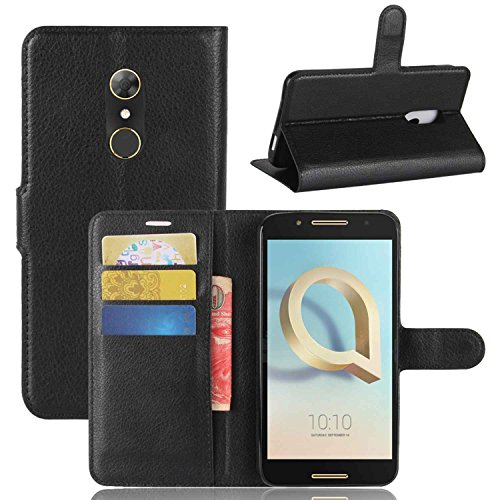 Tasche für Alcatel A7 Hülle, Ycloud PU Kunstleder Ledertasche Flip Cover Wallet Hülle Handyhülle mit Stand Function Credit Card Slots Bookstyle Purse Design schwarz