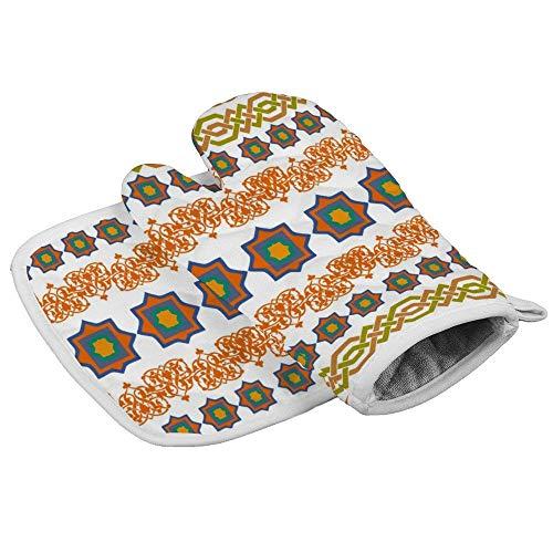 Juego de manopla de horno y soporte para ollas, resistente al calor azteca manoplas antideslizantes para olla, guante de cocina, guante de cocina con soporte para olla, para hornear, barbacoa, asar