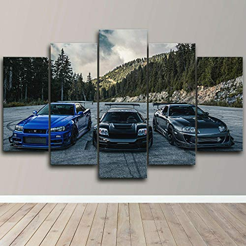 Impresión de Lienzo de Pared Arte Toyota Supra Nissan Skyline NSX Car 5 Piezas Pinturas Giclée de Moderna Estirada y Enmarcado Arte Cuadros estirados y enmarcados