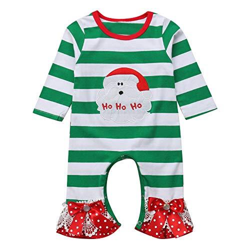Cuteelf Baby Langarm Baby Mädchen Weihnachten Weihnachtsmann Print gestreiften Overall Set Kleidung Glocke Hosen Haber Krabbeln Kleid EIN Stück niedlichen Hut