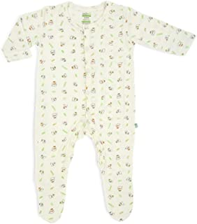 Simply Life Hypoallergenic Bamboo Sleepsuit, Long-Sleeved with Footie & Front Snap Buttons, 3 Little Lamb Blessed, 6-9 Months, Medium