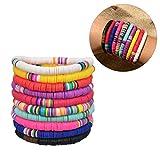 Urisgo 10 Piezas Rainbow Color Polymer Vinyl Surfer Bracelets Discos Hechos a Mano Bead Boho Bracelet DIY Handmade Jewelry
