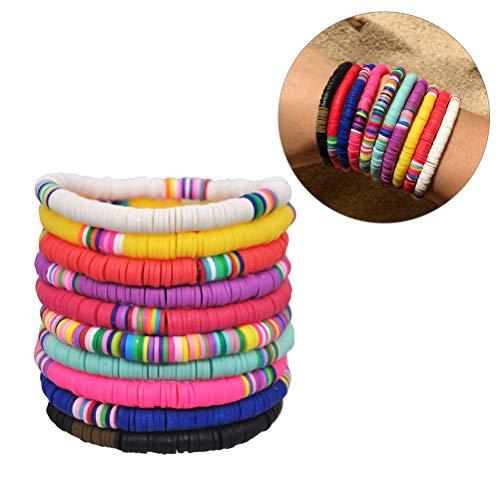 Merkts Lot de 10 bracelets de style bohème en argile colorée, faits à la main pour femme et fille