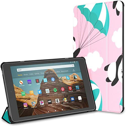 Case for All-New Amazon Fire Hd 10 Tablet (7th and 9th Generation,2017/2019 Release),Slim Folding Stand Cover with Auto Wake/Sleep for 10.1 Inch Tablet, Seamless Panda Pattern Background Happy Cute