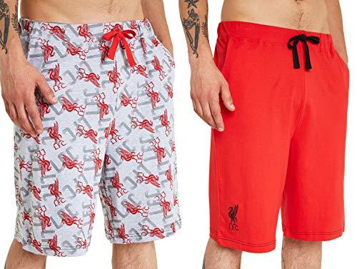 Liverpool F.C. - Pantalones cortos de fútbol para hombre, con cintura elástica, regalo oficial del Liverpool F.C. para hombres y adolescentes, Hombre, color Rojo y gris., tamaño 54