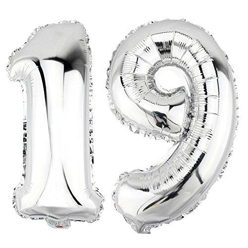 DekoRex® 19 als Folienballon Luftballon Zahlenballon Jahrestag Geburtstag in Silber 40cm hoch