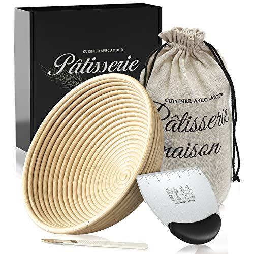 9 inch Bread Banneton Proofing Basket & Liner for Sourdough - Gift set for Artisan Bread Making Starter - Set for bread baking with Bread Proofing Bowl, Bowl Scraper, Bread Lame & Instructions
