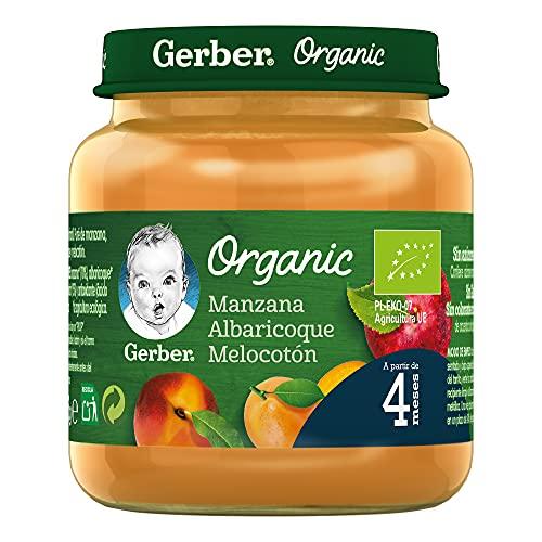GERBER Organic Manzana Albaricoque Melocotón 130 g - Pack de 6