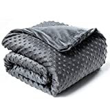 Bedsure Weighted Blanket for Adults with Removable Duvet Cover (60×80 inches, Grey) - 15lbs for Adults Between 140-190 lbs - 100% Cotton Weighted Blanket Queen Size