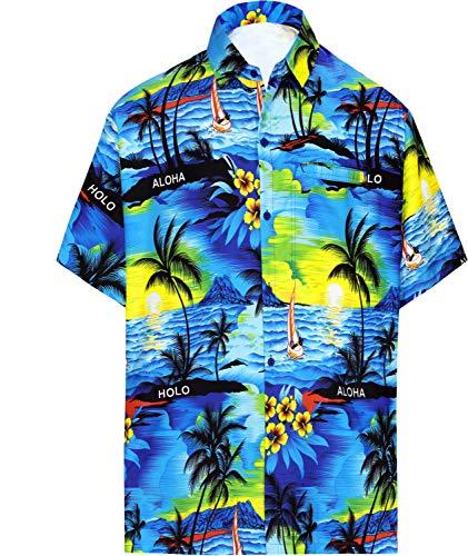 LA LEELA  männer Hawaiihemd Kurzarm Button Down Kragen Fronttasche Beach Strand Hemd Manner Urlaub  M  Blau_w31   Bekleidung > Hemden > Hawaiihemden   LA LEELA
