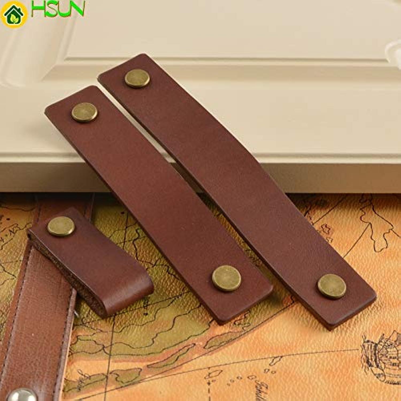 3.75'' 5'' 6.3'' Cabinet Handles Leather Dresser Drawer Knobs Pulls Door Handle Brown Bronze gold Silver Kitchen Pulls Knob  (color  Brown gold, Size  160mm)