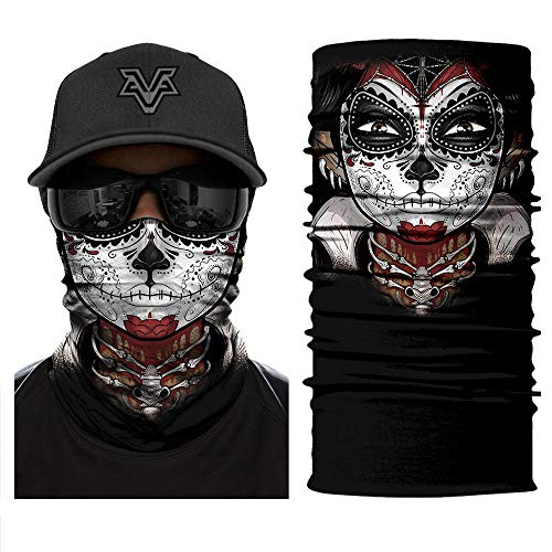 Joyas Lot de 24 foulards avec filtre à poussière et particules multifonction pour cyclisme, pêche, moto, ski et poussière Tête de mort