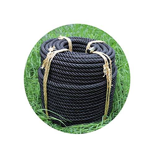 LXM Cuerda de nailon negra, 16 mm, fuerza de tracción de 2 toneladas de cuerda de guerra gruesa aplicable a artículos empaquetados ejercicio fitness (tamaño : 30 m)