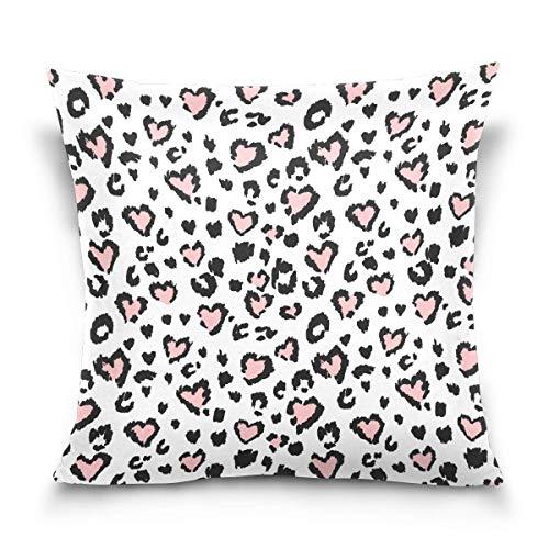 Hangdachang Funda de almohada cuadrada con estampado de leopardo rosa de 45,7 x 45,7 cm con estampado de doble cara, funda de cojín cuadrada con cremallera para decoración del hogar, cama, sofá