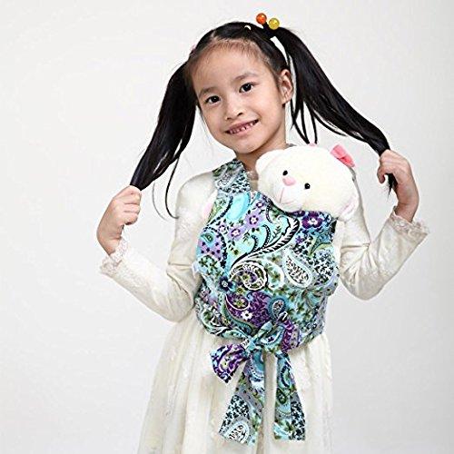 Baby Doll Carrier Mei Tai Sling Toy pour enfants Enfant enfant en bas d'enfant Dos, Mini-porteuse, Hibou, Dot, Fleur, Kaléidoscope ((Paisley Flower)