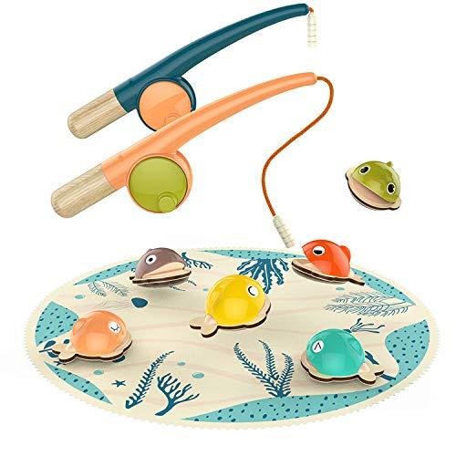 TOP BRIGHT Angelspiel Holz ab 2 Jahre, Fische Angeln Spiel Kinder Lernspielzeug, Spielzeug für 2 3 Jahre Jungen und Mädchen Geschenke