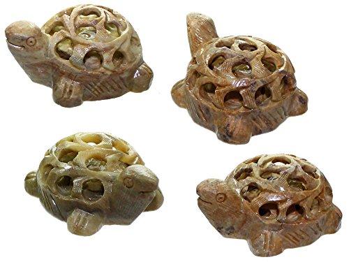 Budawi® - Speckstein Schildkröte 3er Set, Schildkröte Figur mit Baby - Schildkröte innen, Turtle Dekoration Skulptur Glücksbringer