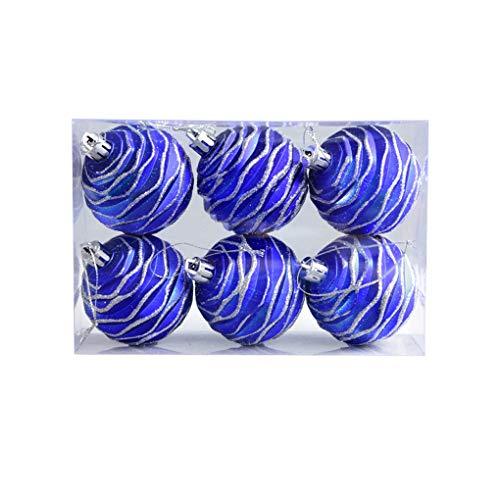HXF- Kerst Decoratie Hangende Bal Blauw Geschilderd Mat Boxed Ball Kerstboom Decoratie Hanger Mall raamdecoratie vreugdevolle