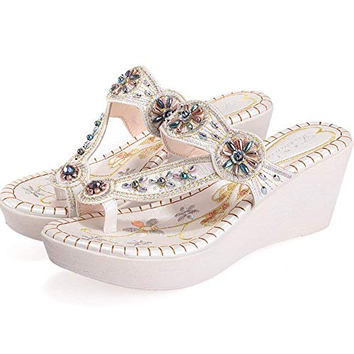 Flip-Flops Wedge High Platform Thong sandalen Kralen Rhinestone Clip Toe Slippers Summer Reefs Ms Shoes Folk Style slippers (Color : White, Size : 36MEU)