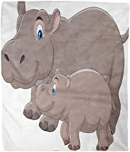 Golee Throw Blanket Hippopotamus Cartoon Mother and Baby Hippo Adorable Africa African Animal 60x80 Inches Warm Fuzzy Soft Blanket for Bed Sofa
