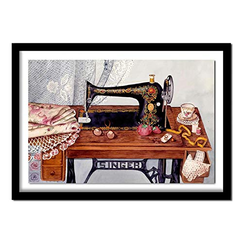 """DIY 5D""""Máquina de coser-bodegón""""Pintura de diamante kit de numeración de diamantes de imitación de cristal bordado de diamantes completo punto de cruz arte artesanía lienzo Sin marcos 40x50cm"""