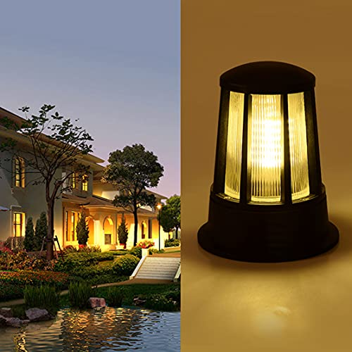 WRMING E27 Lámpara de Jardín Poste Farola de Jardín Moderno Diseño Linternas de Exterior IP54 Impermeable para Patios, Caminos, Parques, Aluminio, Negro