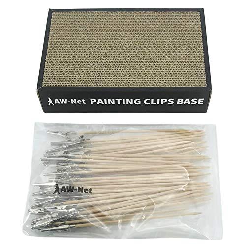 AW-Net 日本製 塗装ベース 塗装棒 セット プラモデル フィギュア 塗装 ペイント エアブラシ (塗装ベース+50本)