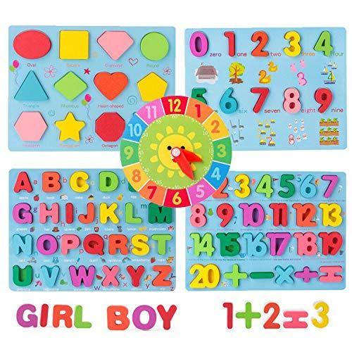 Coriver Lot de 5 puzzles colorés en bois avec alphabet ABC/chiffres/formes géométriques/réveil/jouet pour enfants en bas âge, apprentissage précoce et développement éducatif