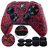 9CDeer Studded Protective Customize Transfer Printing Silicone Cover Skin Sleeve Case + 8 Thumb Grips Analog Caps for Xbox One/S/X Controller Leaves Red Compatible with Official Stereo Headset