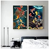 Lienzo Arte de la pared Pez Koi Feng Shui Carpa Lotus Pond Imágenes Lienzo Pintura Arte de la pared para la sala de estar Decoración del hogar 51x71cmx2 Sin marco