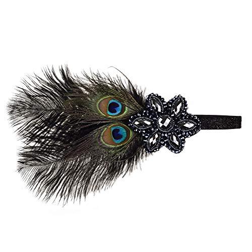 WH-IOE Damen Feder-Stirnband Feder-Haarband Feder-Diamant-Bohrer-Feder-Stirnband-Bühnenshow-Stirnband-Haarband for Frauen Brautkopfschmuck mit Federn (Color : Black, Size : One Size)
