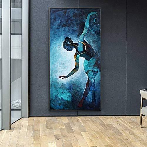 YuanMinglu Abstraktes Leinwandplakat und Druckwandkunstporträtporträt Bunte Tänzerwohnzimmerdekorationsmalerei rahmenloses Gemälde 30x60cm