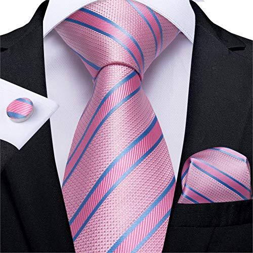 ABDYTE Herren Krawatte Rosa Blau Gestreifte Hochzeit Krawatte Für Männer Taschentuch Manschettenknöpfe Seide Krawatte Set Designer Mode Business Party