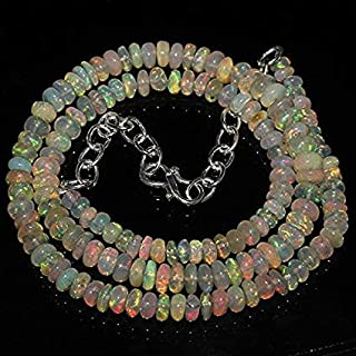 """Jewel Beads 50% Off Natural Ethiopian Welo Fire Beautiful Opal Rondelle Beads Gorgeous Size: 4 MM to 6 MM Necklace Length: 18"""" Necklace Code-AUR-34450"""