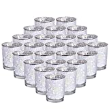 24-Pack Sliver Votive Candle Holders Bulk, Speckled Mercury Tealight Candle Holders Perfect Centerpieces for Home Table , Wedding Prom, Party - 2.67' (H)