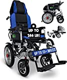 2021 Hawk Mobility Limited Edition - Reclining Ultra Lightweight 18' Wide Seat, Foldable Travel Motorized Electric Power Scooter Travel Safe Heavy Duty Wheelchair (Blue, 18' Seat Width)