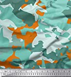 Soimoi Naranja popelina de algodon Tela Dos tonos camuflaje estampados de tela por metro 56 Pulgadas de ancho