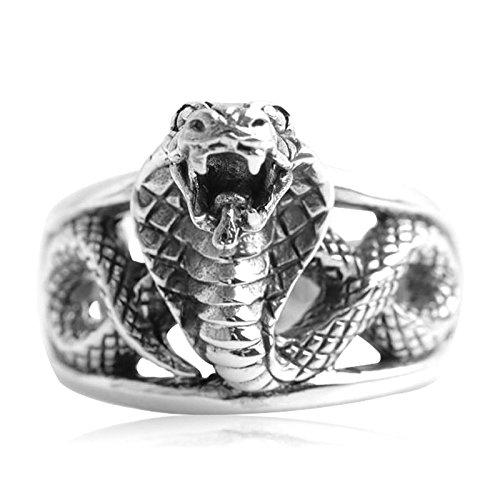 Epinki Joyería Plata de Ley 925 Cobra Anillo para Hombre Tamaño 20 para Compromiso y Boda